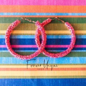 Hot Pink Glitter Earrings